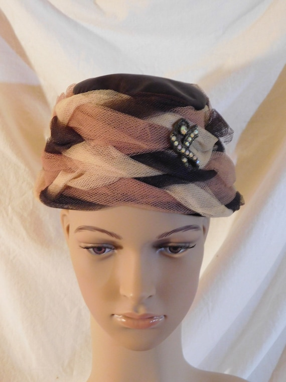 Vintage Bucket Hat Light Brown Dark Brown Netting… - image 1