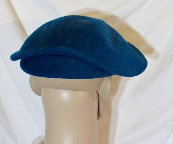 Vintage Hat Teal Blue Beret Blue Tilt Hat 1950s T… - image 3