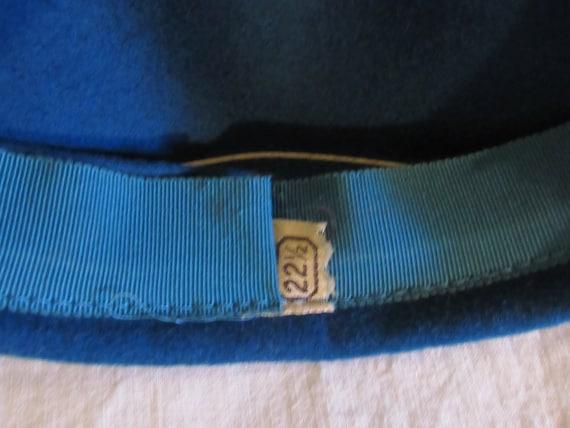 Vintage Hat Teal Blue Beret Blue Tilt Hat 1950s T… - image 7