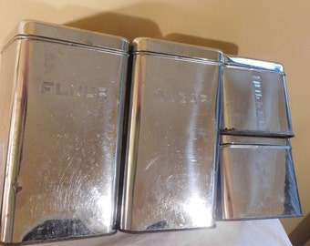 Vintage Canister Set Lincoln Beautyware Silver Canister Set Flour Sugar Tea Coffee