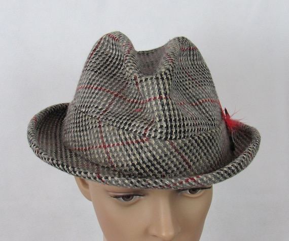 Vintage Tweed Fedora Gray Fedora Wool Fedora red F