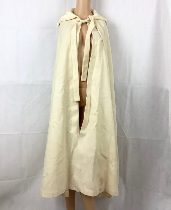 Vintage Cape Wool Blend Lined Cape Hooded Cape Cre