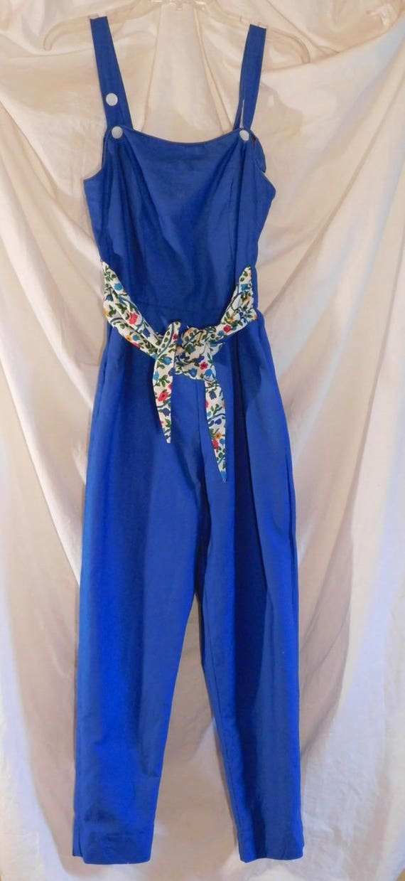 Don Loper Blue Jumpsuit Floral Ties 1950 -1960 Vin