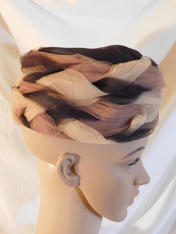 Vintage Bucket Hat Light Brown Dark Brown Netting… - image 2