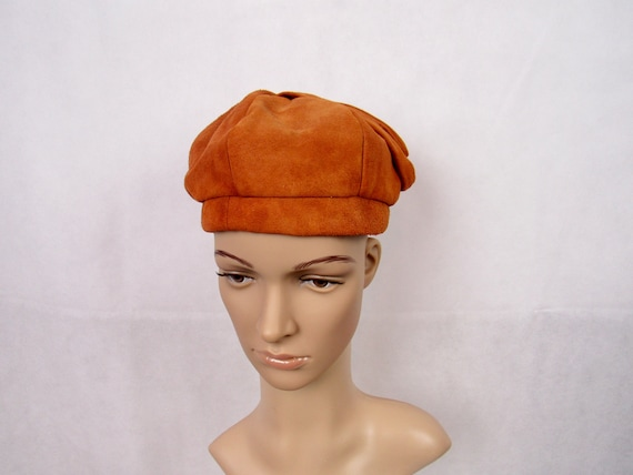 Vintage Hats 1960s Suede Beret Brown Leather Beret