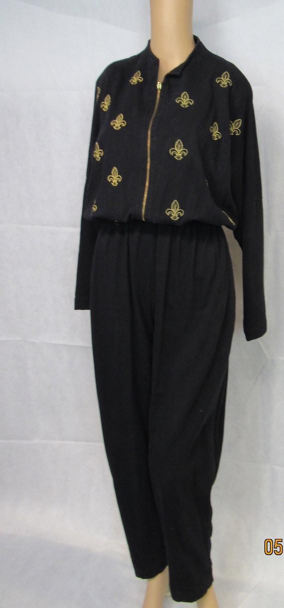 Bloomingdales Black Jumpsuit Gold Fleur de Lis Vin