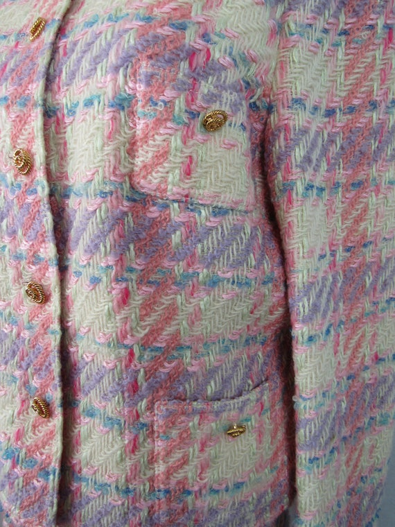 Vintage Pink Plaid Wool Suit Richard Carriere For… - image 7