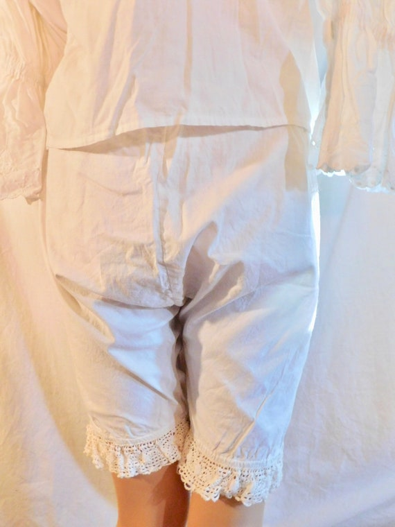 Vintage Bloomers White Cotton Bloomers Lace Bloom… - image 2