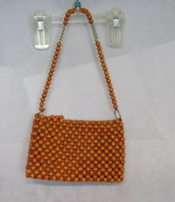 Vintage Beaded Purse Orange Beaded Purse Beaded Sh