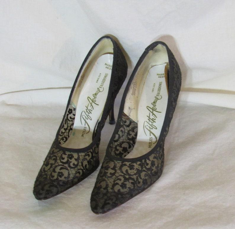 c8c653032867c Vintage Black Lace Stiletto Pumps Miles Fifth Avenue Fashions