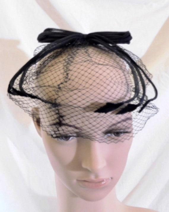 Vintage Whimsy Hat Netting Veil Hat Black Mini Hat 1950s Veil  8cbe2615d41