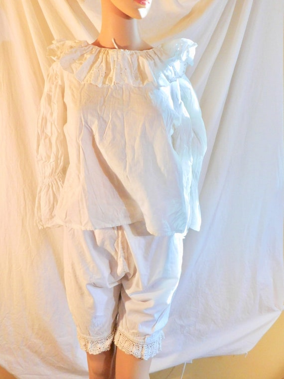 Vintage Bloomers White Cotton Bloomers Lace Bloom… - image 5