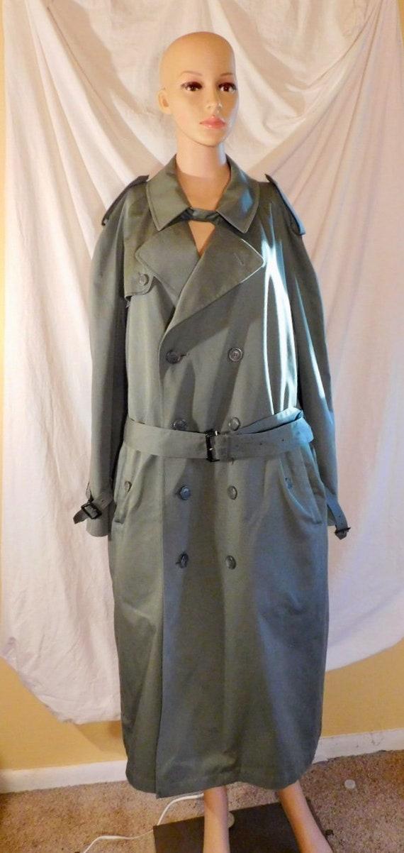 Vintage Stafford Men's Trench Coat Khaki Green Tre