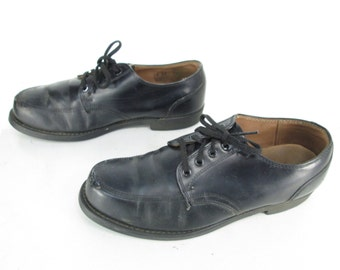 4c3d951a62e Mens Vintage Sears Black Leather Lace Up Dress Casual Work Occupational Shoes  Sz 10 EE
