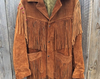 58bef3b14f6 Vintage SCHOTT RANCHER Fringe Brown Leather Jacket Coat Western 38 Medium  Large