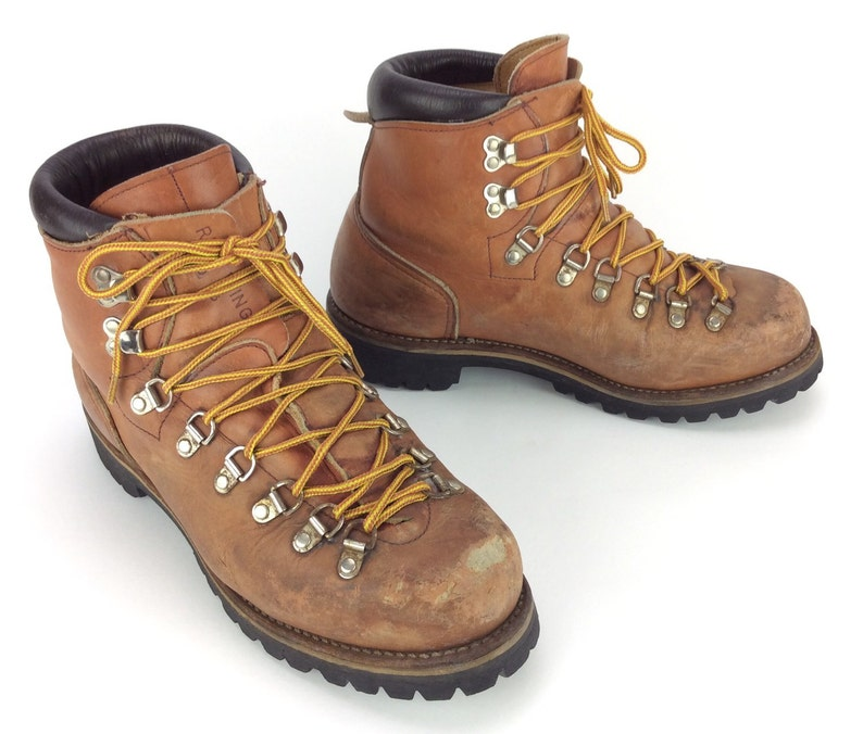 df85dd5b603 Men's Vintage Red Wing Irish Setter Caramel Brown Leather Hiking  Mountaineering Boots Sz. 8 1/2 D USA