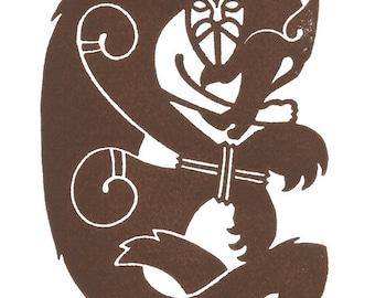 Tyr and Fenrir, Norse Mythology Linocut