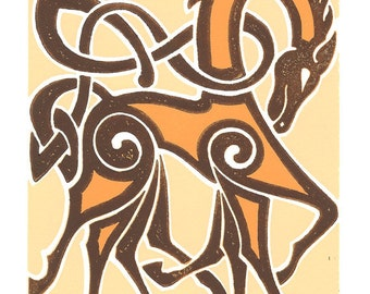 Sleipnir, Odin's Horse, Norse Art Linocut