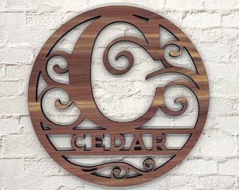 Custom Round Wood Monogram | Personalized Monogram | Wood Sign | Personalized Decor | Wedding Gift | Door Hanger