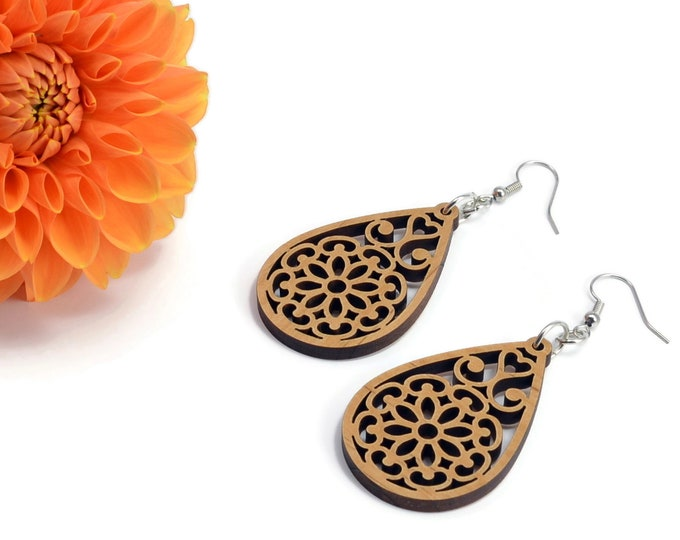Featured listing image: Mandala Inspired Wooden Earrings | Wood Earrings | Dangling Earrings | Wood Mandala Earrings | Mandala Earrings