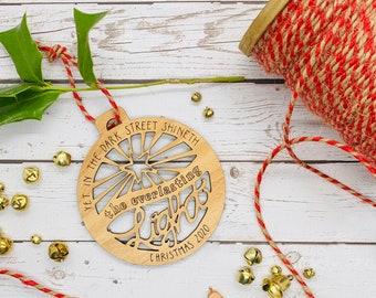 Everlasting Light Christmas Carol Quote Ornament | Christmas 2020 Ornament | Quote Ornament | Rustic Ornament