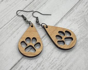 Dog Paw Wood Earrings, Teardrop Earrings, Puppy Prints, Wood Jewelry, Handmade Wood Jewelry, Dangle Earrings