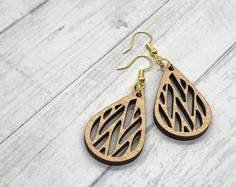Geometric Wood Earrings, Teardrop Earrings, Wood Jewelry, Handmade Wood Jewelry, Dangle Earrings
