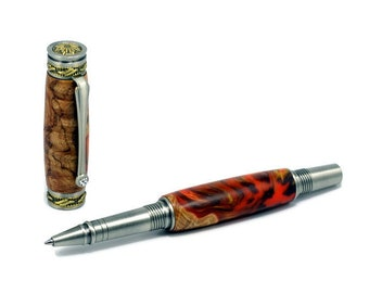 Handsome Executive Wood Antique Silver & Bronze Rollerball Pen