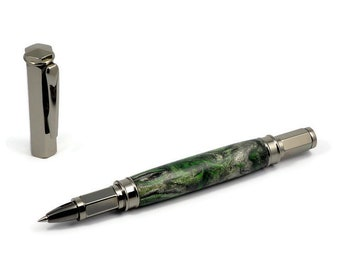 Artistic Rollerball Pen | Diamond Infused Acrylic Pen | Handcrafted Rollerball Pen | Magnetic Cap Pen | Artistic Writing Pen | Writer Gift