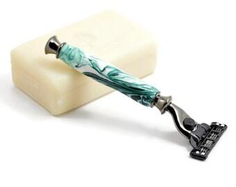 Handmade Razor | Green Acrylic Razor | Anniversary Gift | Gunmetal Razor | Mach 3 Razor | Green & White Razor