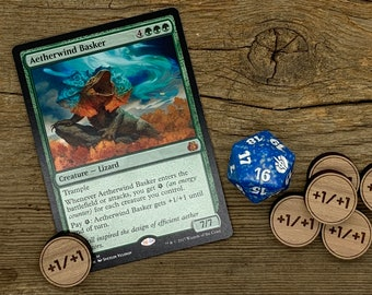 MTG | Custom Wood +1/+1 and -1/-1 Tokens for Magic the Gathering | Cedar, Maple, Cherry, Hickory, or Walnut