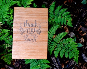 Thank You Wood Card - Alder Wood Engraved Card