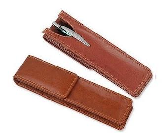 Brown Leatherette Pen Pouch - Single Pen Size - Gift Pen Pouch Leatherette - Gift Box