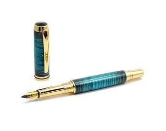 Luxury Blue Maple Wood Fountain Pen