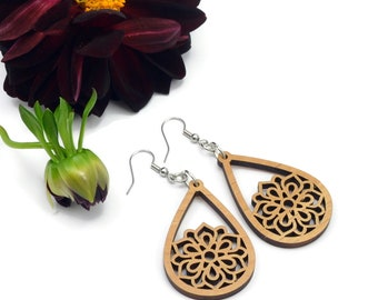 Mandala Alder Wood Dangle Earrings