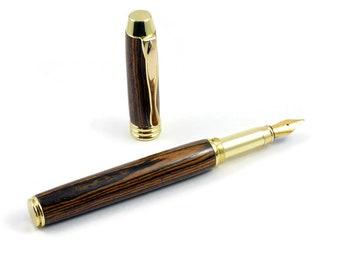 Custom Pen | Bocote Wood Fountain Pen | Anniversary Gift | Wood Pen | Fountain Pen | Gold