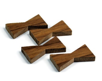 Black Walnut Inlay | Mini Wood Bow Tie Accents | Board Stitcher | Mini Wood Bow Tie | Walnut Inlay | Set of 2 or 4