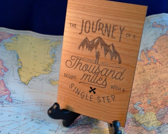 Journey Of A Thousand Miles Wood Card - Alder Wood Engraved Card