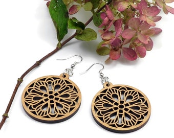 Round Mandala Wood Earrings