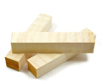 "Quartersawn Figured European Sycamore Pen Blanks 5""+ Long X 7/8"" Square, Pen Turning Blanks, Wood Blanks"