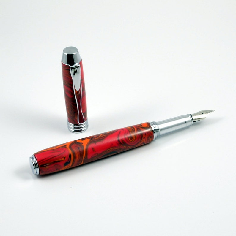 Handcrafted Pen  Acrylic Fountain Pen  Wedding Gift  Red & image 0