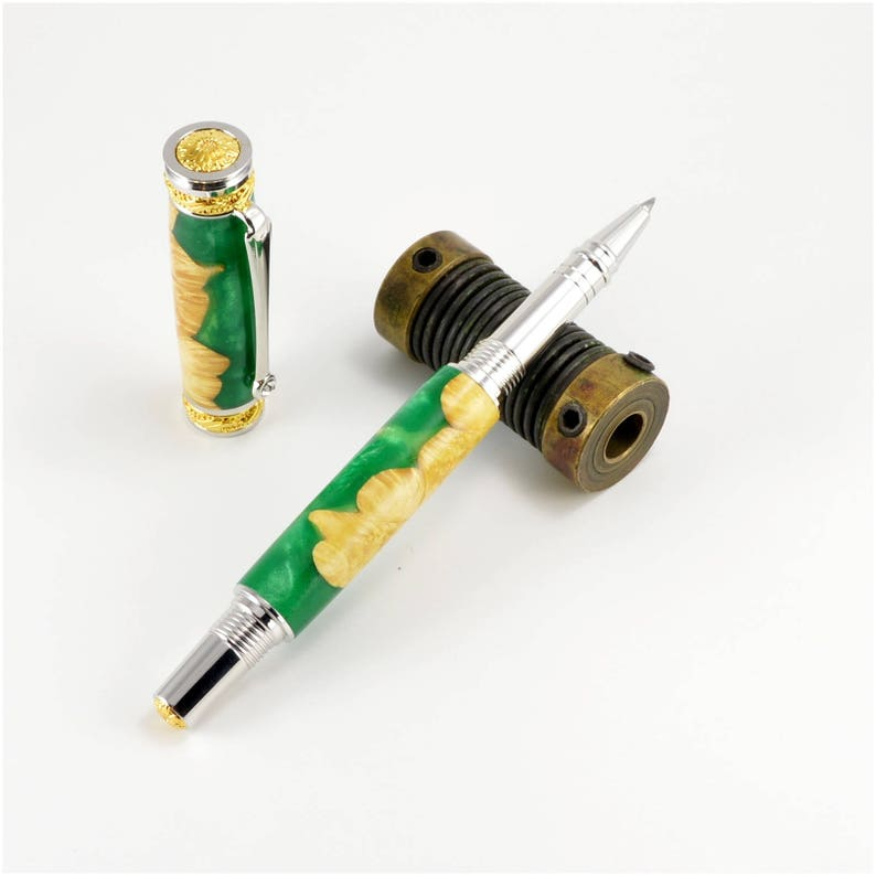 Green Acrylic and Maple Burl Pen  Rhodium and 24kt Gold image 0