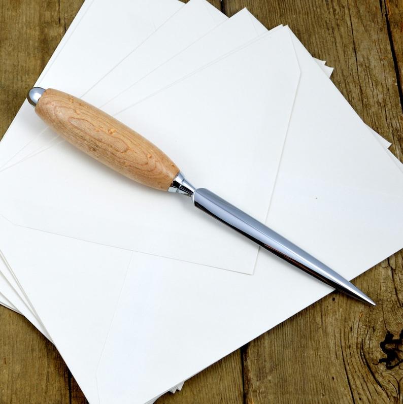 Bird's Eye Maple Chrome Letter Opener  Handcrafted Wood & image 0