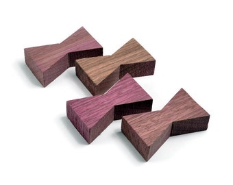 Purpleheart Wood Inlay | Wood Bow Tie Accents | Board Stitcher | Wood Bow Tie | Purpleheart Inlay | Set of 2 or 4