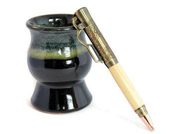 Custom Pen    Wood Pen   Ballpoint Pen   Wedding Gift   Salvaged White Cedar Pen   Lever Action Pen   Etched Antique Brass