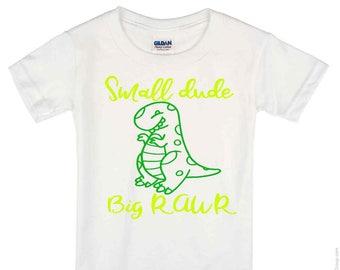 Small Dude Big Rawr Dinosaur T Shirt, onesie