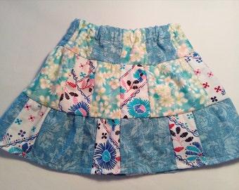 Boho skirt, Country skirt, Girls, Toddler, Baby Patchwork Skirt, 12 Months,