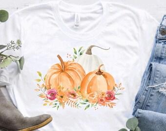 Pretty Pumpkin and Greenery Watercolor Pumpkin Crewneck or Tee / Fall T-Shirts / Fall Crewnecks / Fall Outfits / Fall Shirts / Fall
