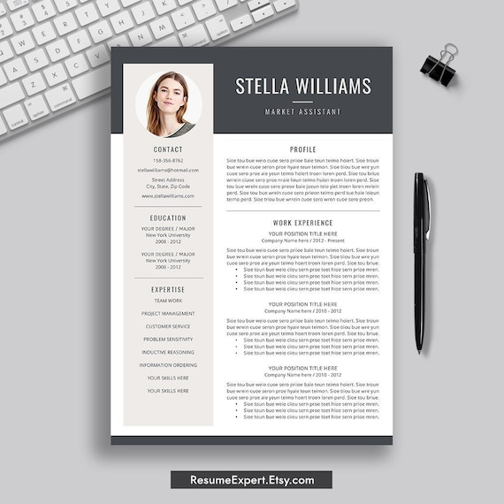Modern Resume Template Professional Cv Template 1 2 3 Page Etsy