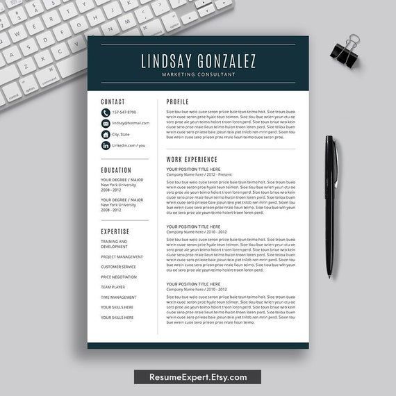 Modern Resume Template Word Professional And Simple Resume Template Cover Letter Instant Download Cv Template Creative Resume Design